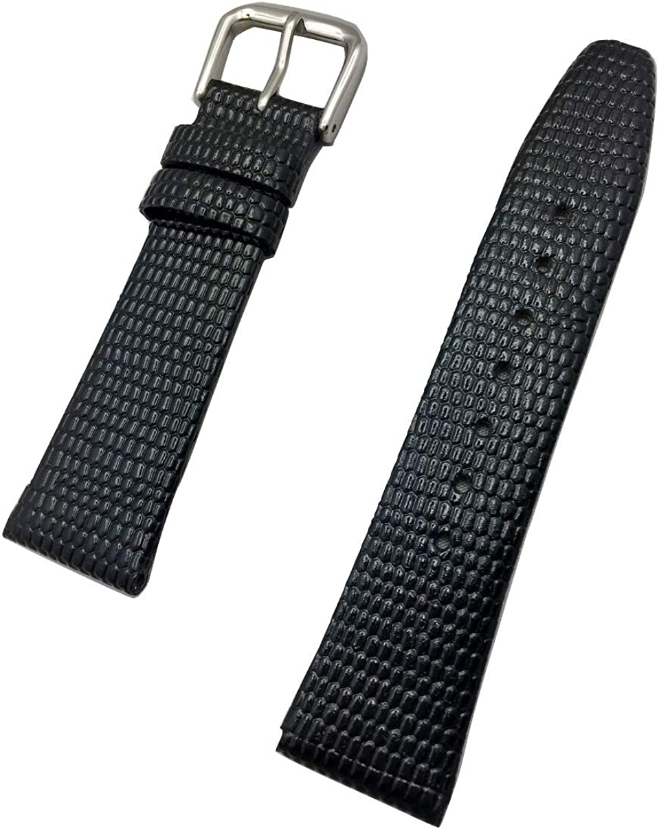 19mm Short, Black Genuine Leather Watch Band   Round Lizard Grain, Flat Replacement Wrist Strap that brings New Life to Any Watch (Mens Short Length)