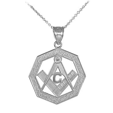 14k white gold octagonal freemason charm masonic pendant necklace 14k white gold octagonal freemason charm masonic pendant necklace 16 amazon aloadofball Image collections