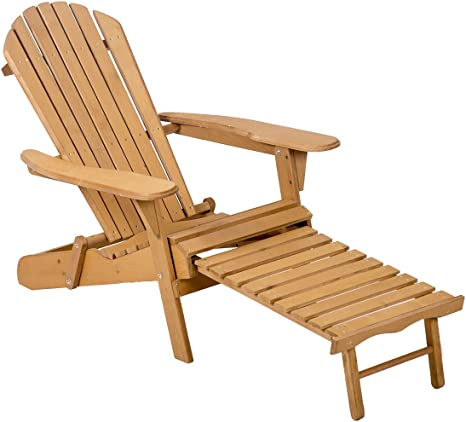 Outdoor Wood Adirondack Chair Foldable W Pull Out Ottoman Patio Furniture Kitchen Dining