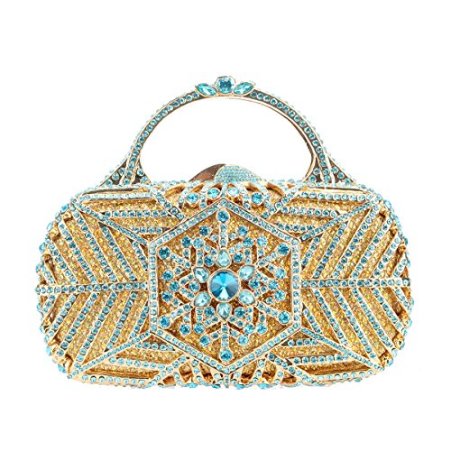 - Fawziya Snowflake Metal Handle Handbag For Women Clutch Purse Party Clutches-Blue