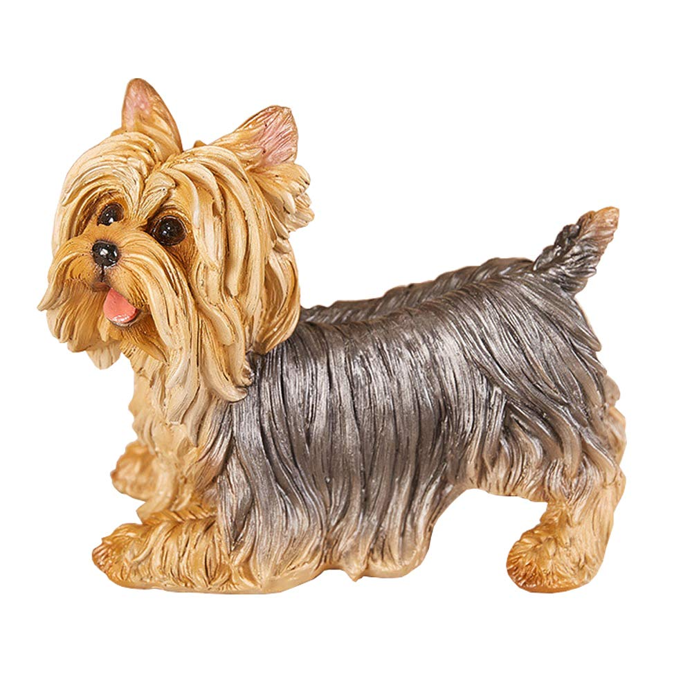 """Danmu 1Pc of Polyresin Yorkshire Terrier Dog Statue Garden Statues, Outdoor Statues, Garden Ornaments, Yard Statue for Home and Garden Decor (8 3/5"""" x 4 7/10"""" x 6 2/5"""")"""