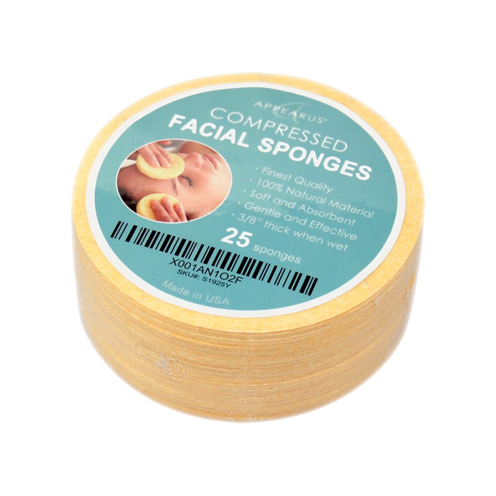 Face Sponge - APPEARUS Compressed Natural Cellulose Facial Sponges | Made in USA | Cosmetic Spa Sponges for Facial Cleansing and Exfoliating (25 Count) (Natural)