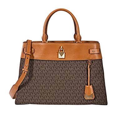 e79f3c41bef9 Michael Kors Gramercy Large Signature Logo Print Satchel- Brown: Handbags:  Amazon.com