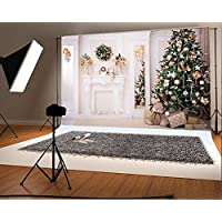 7x5ft Green Christmas Tree Photo Backgrounds Wrinkle free White Fireplace Cute Rabbit Gift Photography Backdrops for Child wd2541