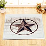 LB Vintage Texas Star Rustic White Painted Brick Wall Indoor Rugs Small, Flannel Surface Non Slip Backing, American West Theme Bathroom Decor 15 x 23 Inches