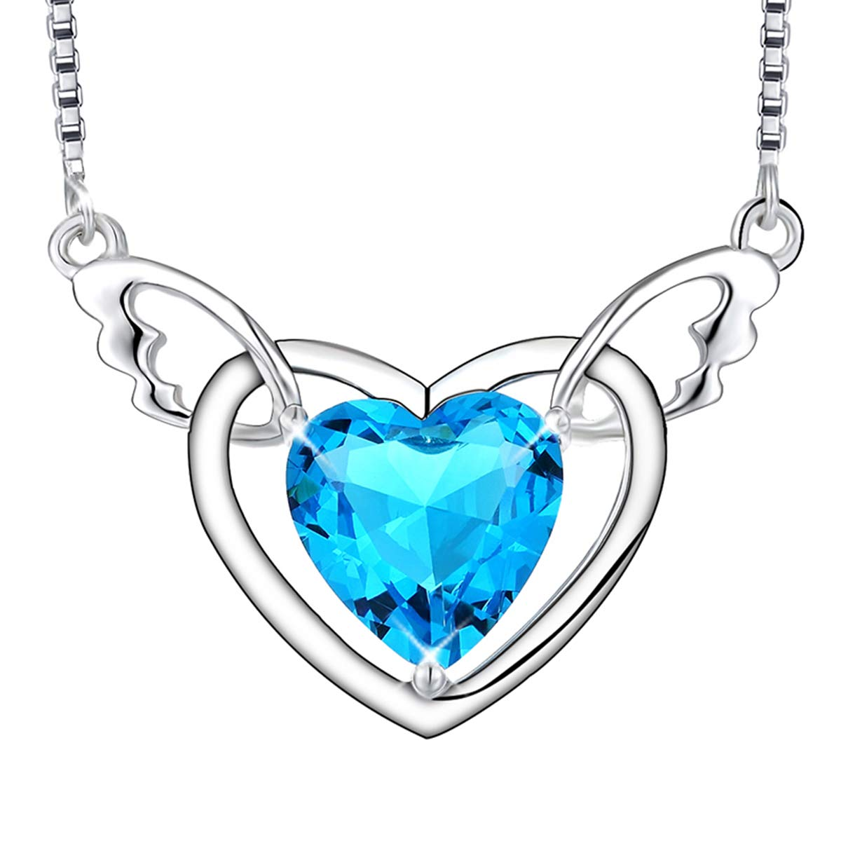 EURYNOME Sterling Silver Angel Wing Blue Love Heart Crystal Pendant Necklace Wedding Anniversary Jewelry for Daughter Wife Mom,20''