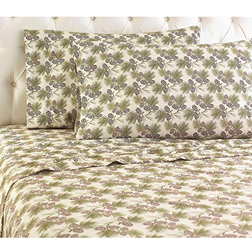 Shavel Micro Flannel Sheet Set, Queen, Pinecone Natural
