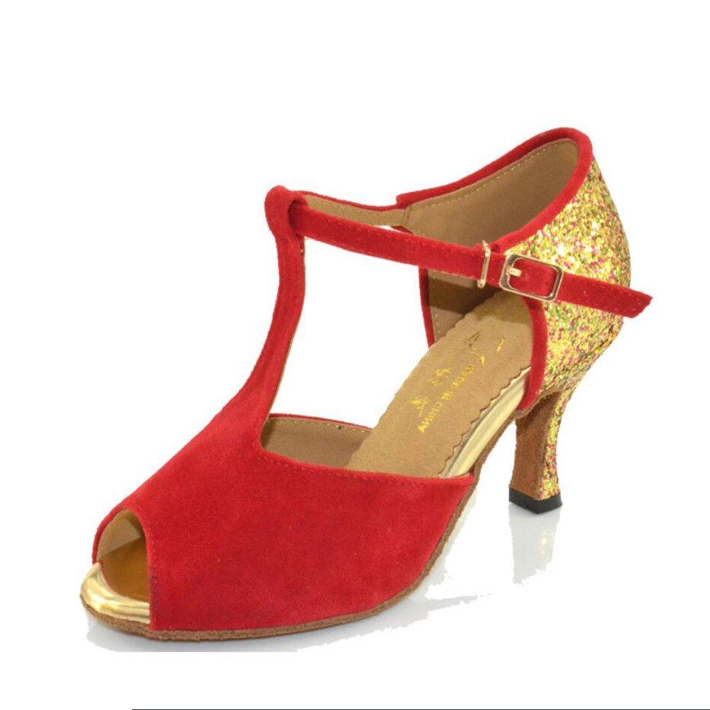 New Damen Latin Schuhe/Ballroom Schuhe Satin/Seide Sandale Indoor/Professional Schnalle Ferse Tanzschuhe Party  Abend Schwarz, Rot, Blau, Orange eu size  B