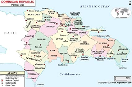 Amazon.com : Dominican Republic Political Map - Laminated (36\