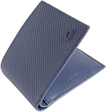 BRAND NEW MEN/'S LACOSTE PEACOAT NAVY BLUE BILLFOLD LEATHER COIN WALLET