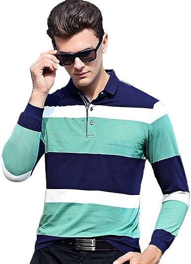 Camisa Polo para Hombre Camiseta Casual Camisetas Larga Moda De Manga Otoño Cómodo Camisa Polo A Rayas Camiseta para Hombre Camisas Tops: Amazon.es: Ropa y accesorios