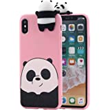 iPhone X Case, Umiko(TM) 3D Cartoon Animals So Cute Lovely We Bare Bears Panda Grizzly Soft Silicone Case Cover for Apple iPhone X iPhone 10 (2017) Girls, Pink