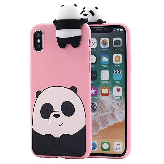 uk availability 793dc 3ac0b iPhone X Case, Umiko(TM) 3D Cartoon Animals So Cute Lovely We Bare Bears  Panda Grizzly Soft Silicone Case Cover for Apple iPhone X iPhone 10 (2017)  ...