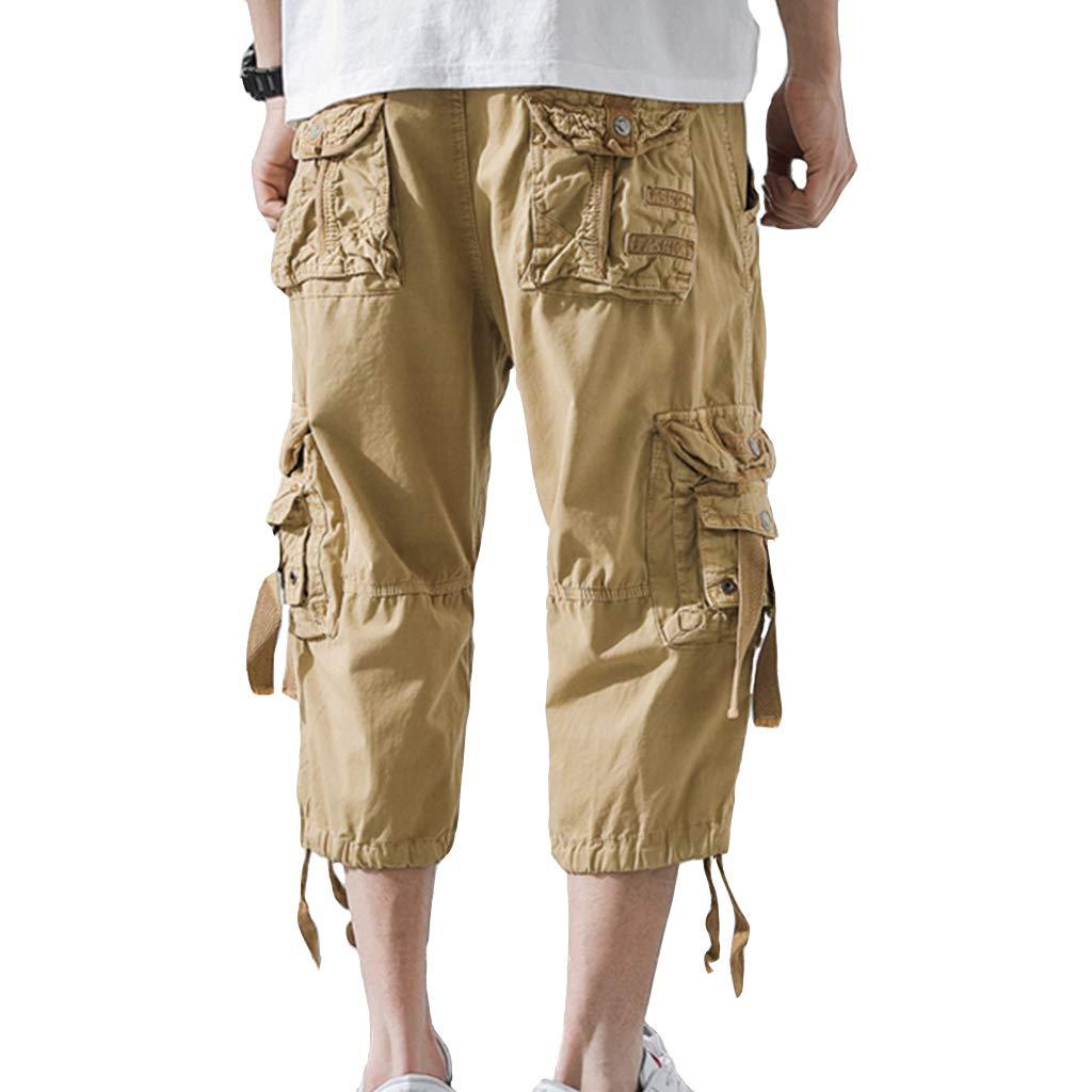 AUYUG Mens 3//4 Cargo Shorts Long Summer Camouflage Capri Shorts