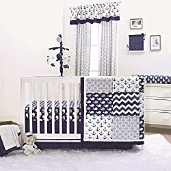 Nautical Whales and Anchors Navy Boy's 4 Piece Crib Bedding Set by The Peanut Shell
