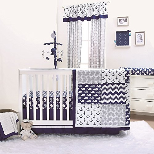 (Nautical Whales and Anchors Navy 4 Piece Crib Bedding Set by The Peanut Shell )
