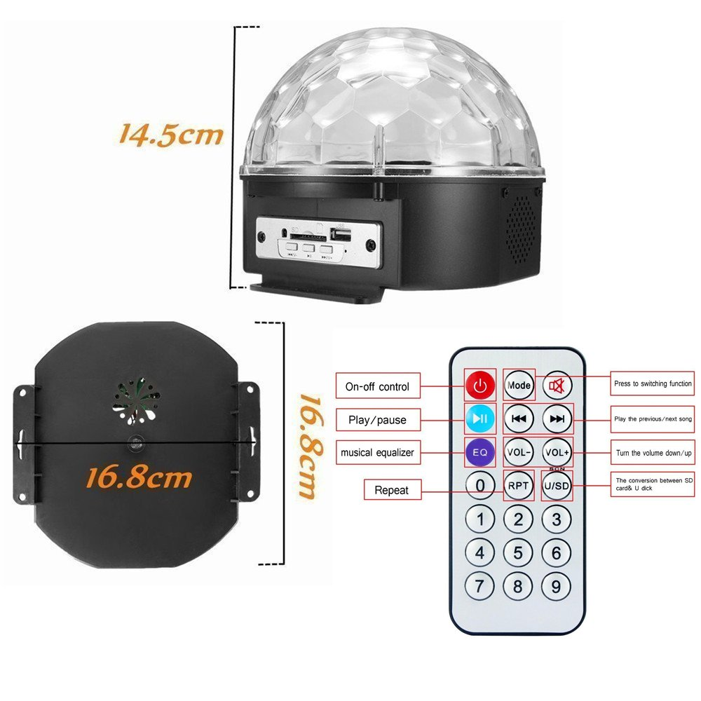 Stage Lights,Prolight LED Grystal magic ball light Led Projection Party Disco Ball DJ Lights Bluetooth Speaker Rotating Light with Remote Control Mp3 Play for KTV Xmas Party Wedding Show Club Pub by Prolight (Image #3)