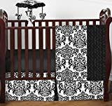 Designer Black and White Damask Isabella Baby Girls Bedding 4 Piece Crib Set Without Bumper