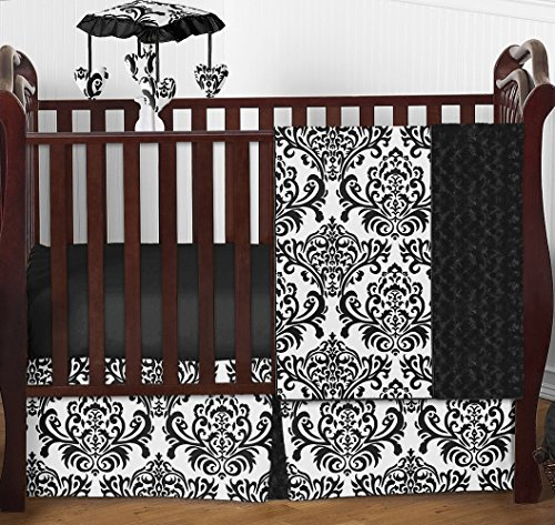 Designer Black and White Damask Isabella Baby Girls Bedding 4 Piece Crib Set Without Bumper (Bedding Isabella Crib Collection)