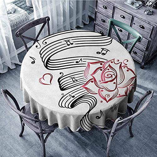 (ScottDecor Summer Round Tablecloth Tattoo,Language of Love Valentines Musical Inspiration on Sheet with Rose Hearts,White Black and Pink, Fabric Tablecloth Diameter 60