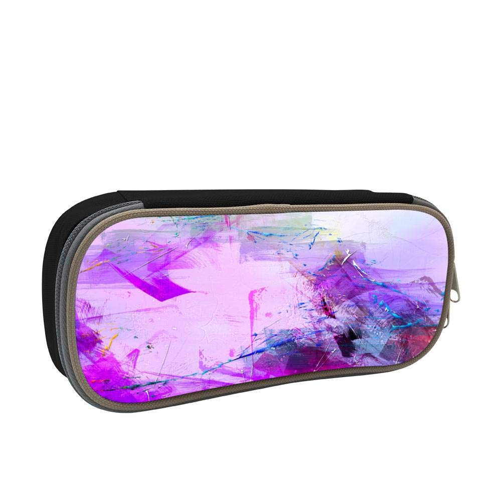 Purple Painting Large Capacity Multi-Layer Pencil Case Back To School Choice Black