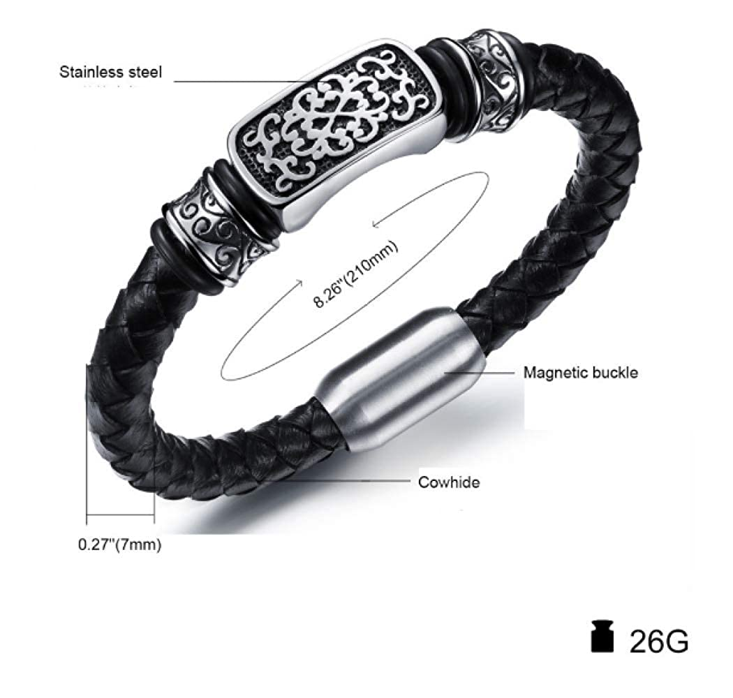 Amazon.com: Leather Bracelet Black Silver Cuff Bracelet ...