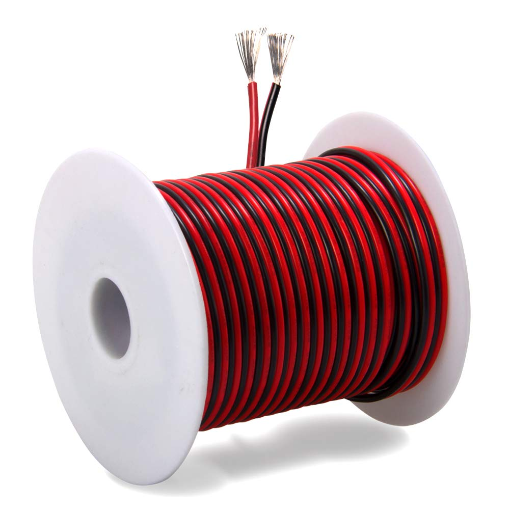 30ft 18 Awg Gauge Electrical Wire Premium Dc 12v Hookup Red Black Battery Cable 100 Ft Wiring Products Copper Stranded Auto 2 Cord Flexible Extension With Spool For Led Ribbon Lamp