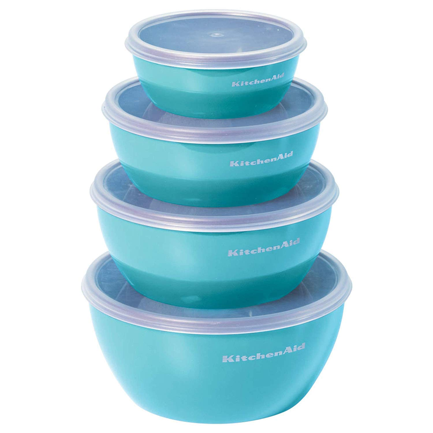 KitchenAid Prep Bowls with Lids, Set of 4, Aqua Sky
