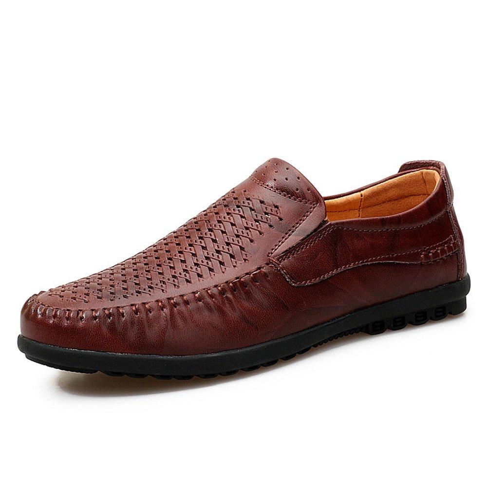 Mocasines para Caminar Sandalias Huecas y Transpirables Huecas de Cuero de los Hombres de Verano Zapatos Suaves Casuales Zapatos de Barco 42 EU|Rojo