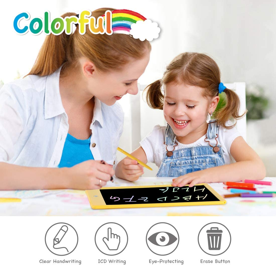Orsen LCD Writing Tablet 10 Inch, Colorful Doodle Board Drawing Tablet, Erasable Reusable Writing Pad, Educational Gifts for 3-6 Year Old Girls Boys(Yellow)