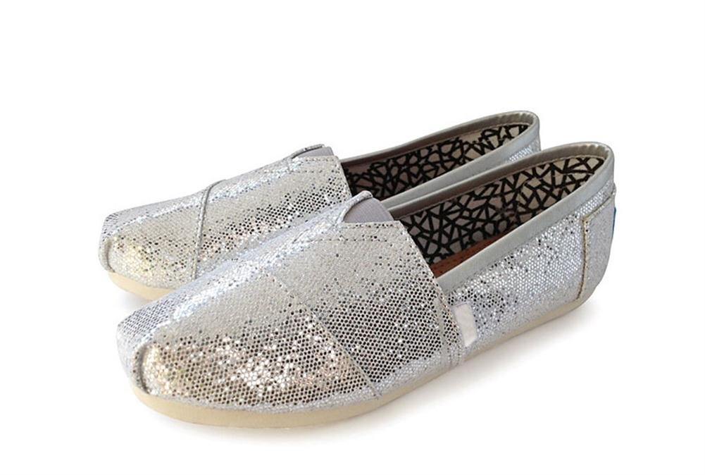 Playworld Womens Classic Sequin Slip On Shoes Ballerina Ballet Flats Loafers B01BS4ZWK4 5.5 B(M) US|Silver