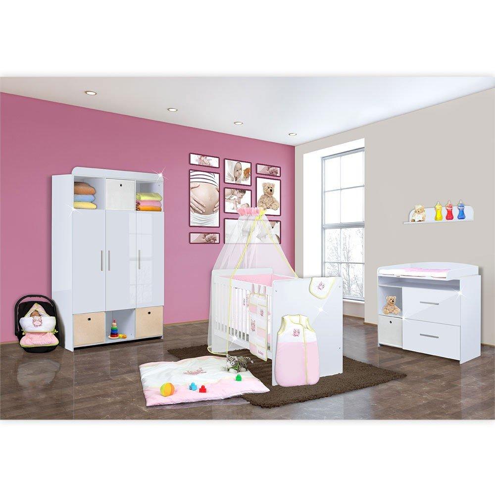 Babyzimmer Mexx in Weiss Hochglanz 11 tlg. mit 3 türigem Kl. + Textilset Eule in Rosa