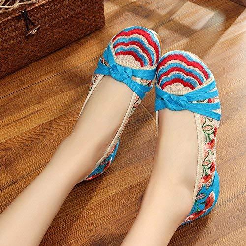 Ricamate Stoffa 35 Stile Casual colore Femminile All'interno Dell'aumento Blu Comodo Tendine A Moda Dimensione Di Scarpe Suola Fuxitoggo Etnico 5awqR8R