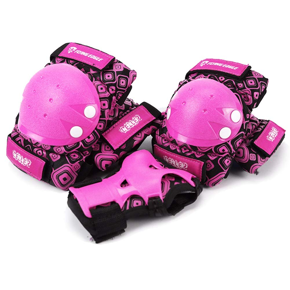 LIQICAI Child/Kids Knee Pads Elbow Pads Wrist Guards 3 in 1 Protective Gear Set for Multi Sports Skateboarding Inline Roller Skating Cycling Biking BMX (Color : Pink, Size : M)