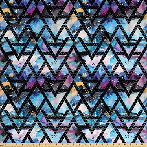 Lunarable Galaxy Fabric by The Yard, Tribal Motifs Monochrome Triangles with Colorful Abstract Space Themed Backdrop, Decorative Fabric for Upholstery and Home Accents, 1 Yard, Black Blue (Fabric Upholstery Colorful)