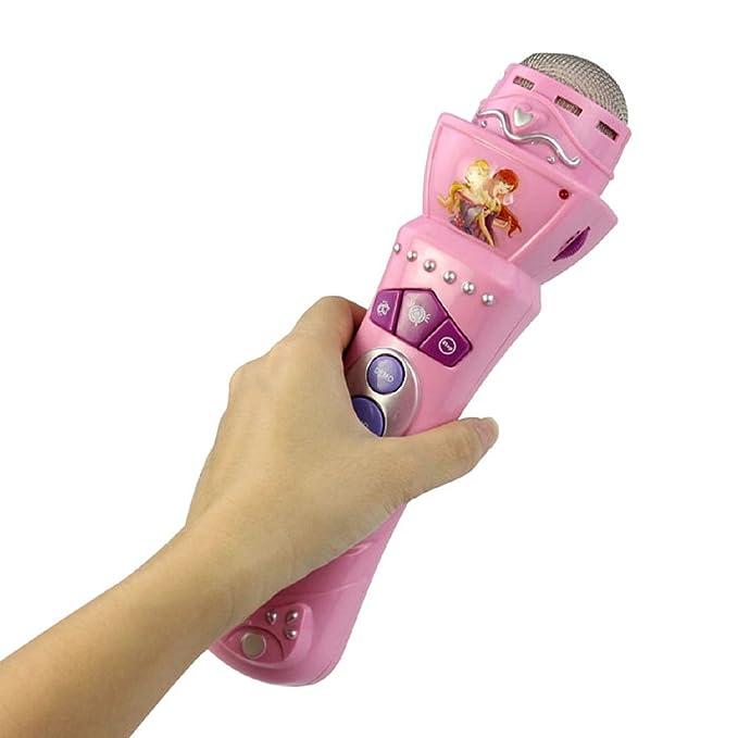 Malloom® Nueva Micrófono Inalámbrico Niños Niñas LED Mic Karaoke Canto Regalo Divertido Juguete Música Rosa: Amazon.es: Instrumentos musicales