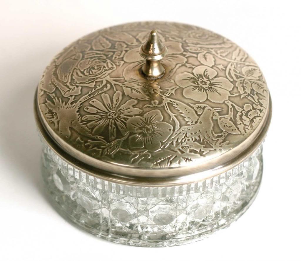 Cut Glass Powder Box