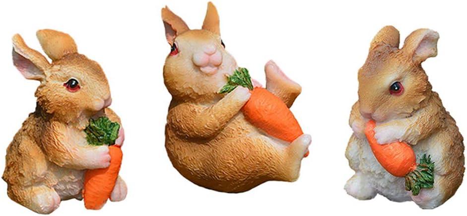 MAOMIA Miniature Bunnies 3 Pcs Fairy Garden Rabbit Figurines Easter Bunnies Statue Micro Landscape Decoration Plant Flower Pots Ornaments