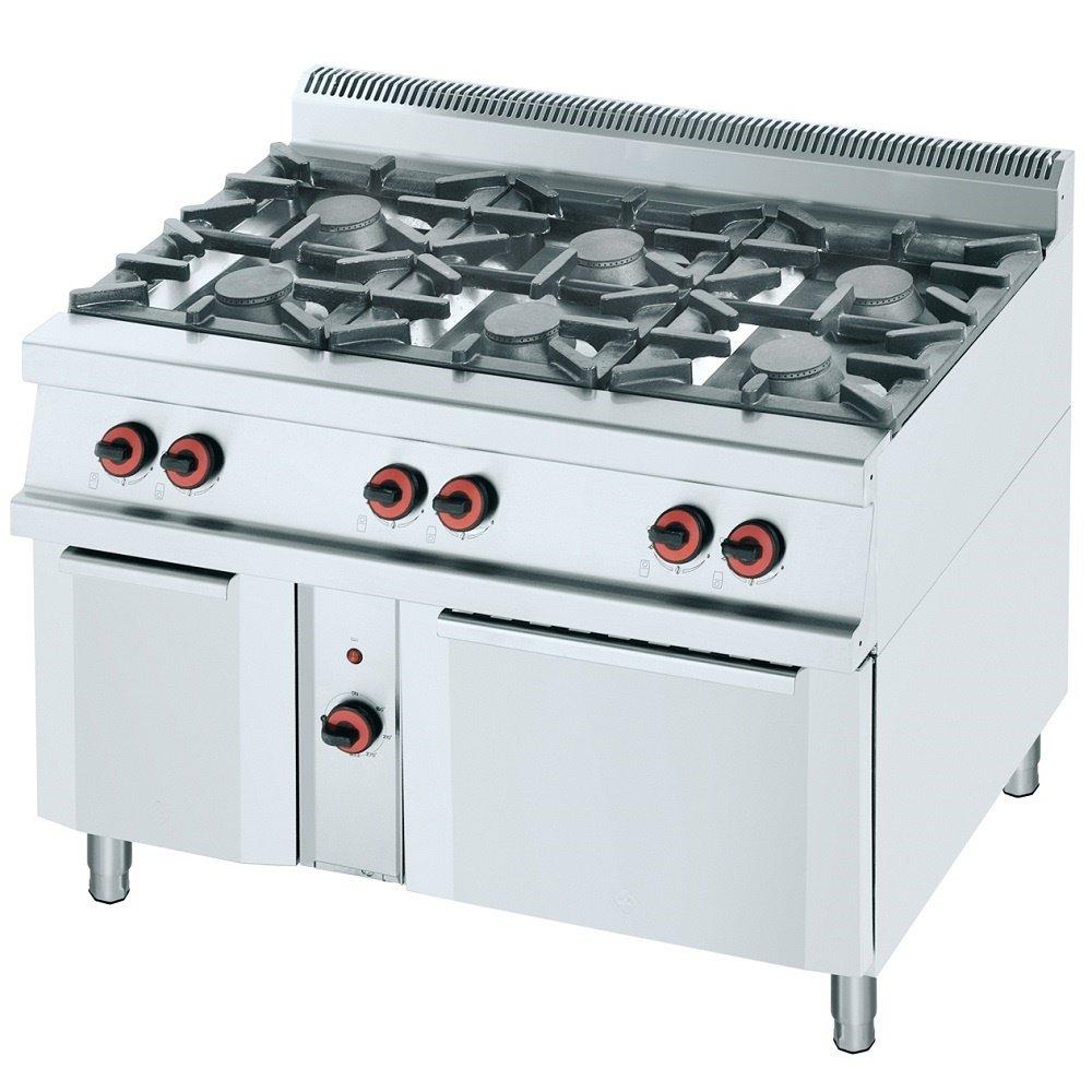 Macfrin R6E Cocina a Gas de 6 Fuegos y Horno 47 Kw: Amazon ...
