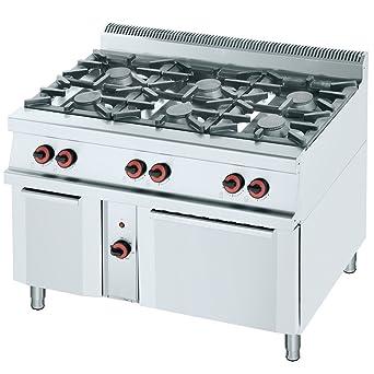 Macfrin R6E Cocina a Gas de 6 Fuegos y Horno 47 Kw: Amazon.es ...