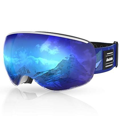 Andake Gafas de Esqui Niños 4-10 años Portador de Gafas Protección UV400 Antivaho/