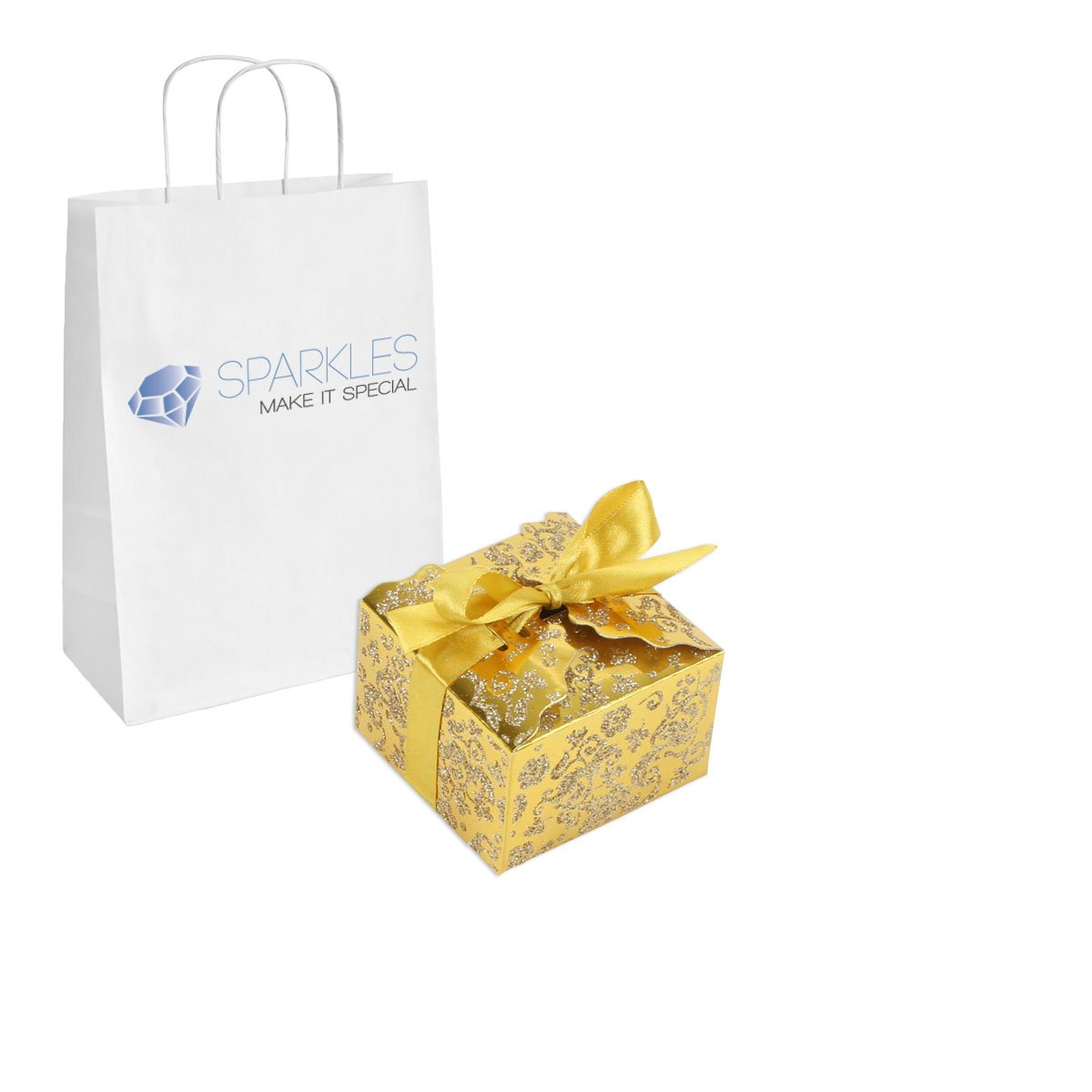 Sparkles Make It Special 100-pcs Medium Ribbon Favor Candy Boxes Wedding Gift Candy Boxes Mirror Gold