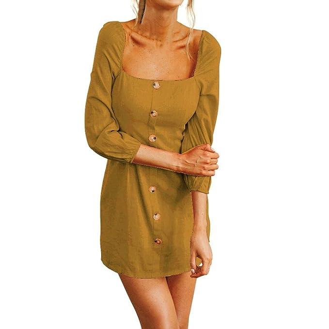 JYC Falda Larga, Vestidos Largos, Vestido Camiseta Encaje, Elegante Casual, Vestido Fiesta Mujer Largo Boda, Camisola Largo Manga Cuadrado Cuello Mini Botón ...