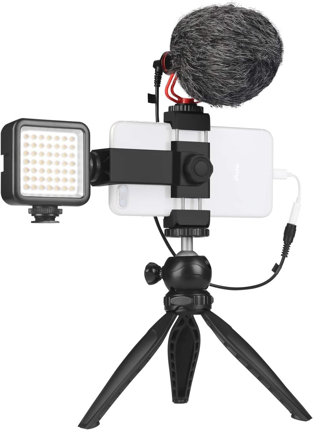 Smartphone Video Microphone Kit with LED Light,Phone Holder,Tripod Vertical & Horizontal Vlog YouTube Filmmaker Video Kit for iPhone 7 8 X XS MAX 11 Pro Samsung Huawe
