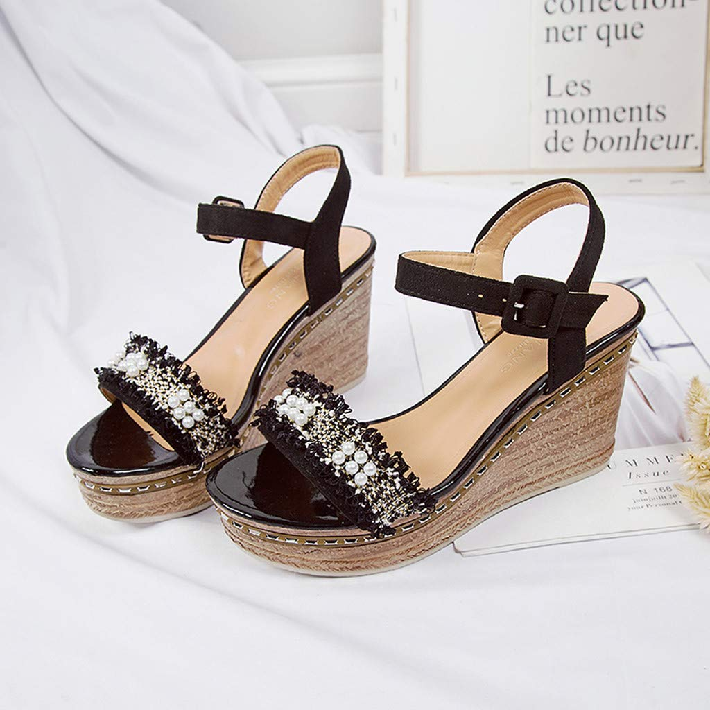 Masoness Mode Frauen S/ü/ße L/ässige Peep Toe Perle G/ürtel Dicke Untere Schnalle Keile Schuhe Sandalen