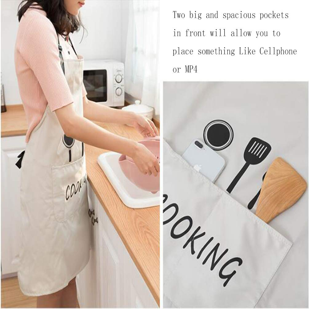 Leeotia Water Resistant and Oil-Proof Cooking or Baking Apron with 2 Pockets Great Gifts for Both Women and Man - White