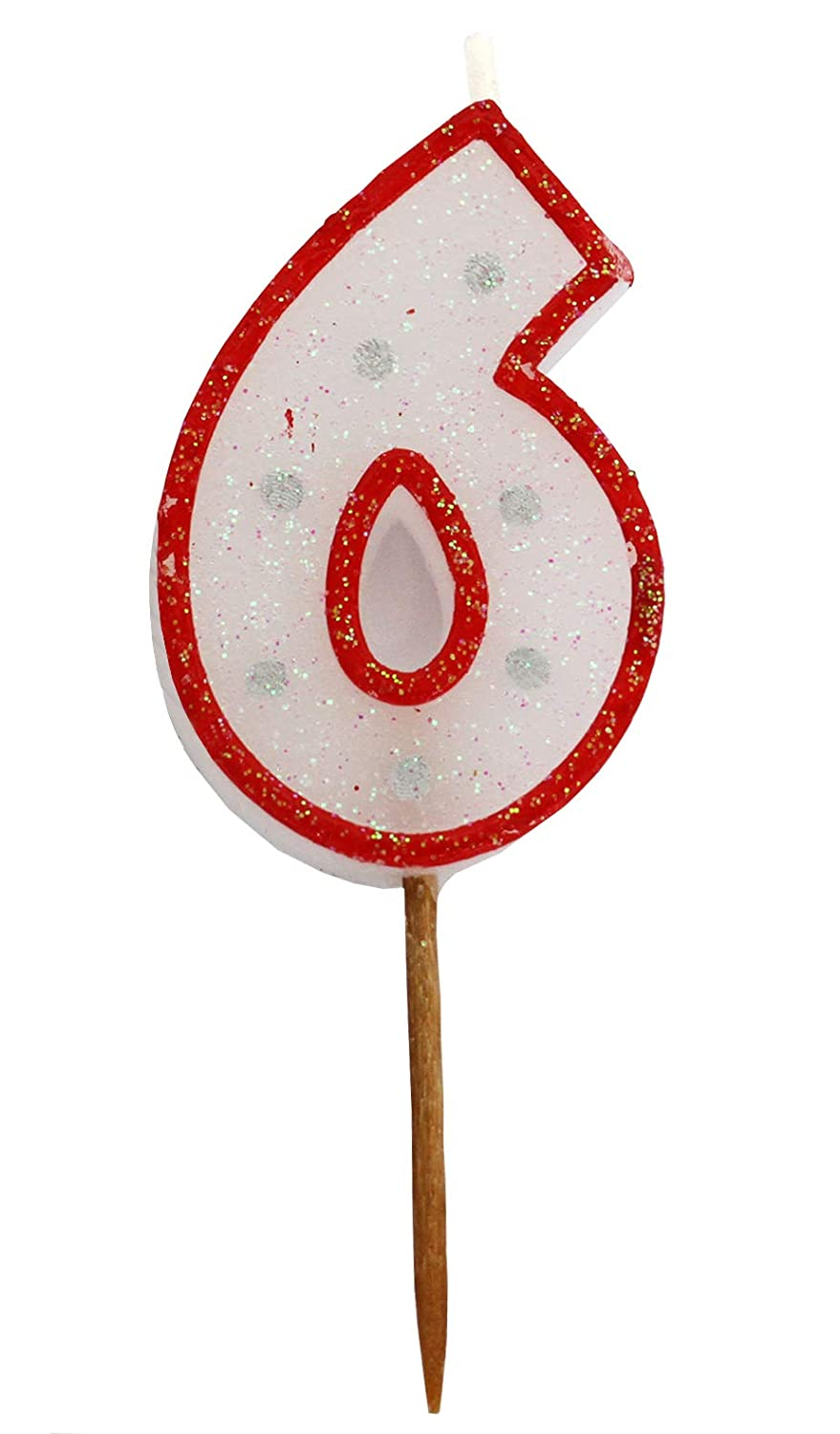 Gift Expressions Birthday Numeral Candle Party Favor with Red Border Silver Dot Glitter for Childerens Birthday /& Celebration