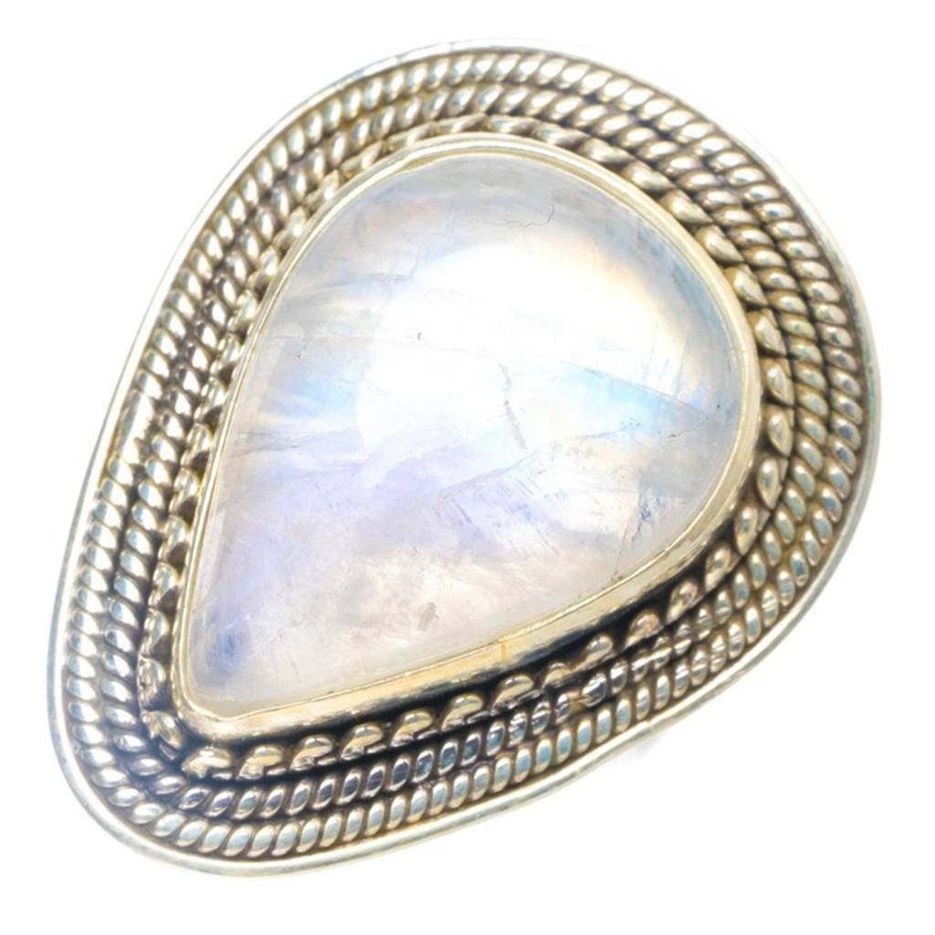 Natural Moonstone Handmade Unique 925 Sterling Silver Ring 6.25 Y4080
