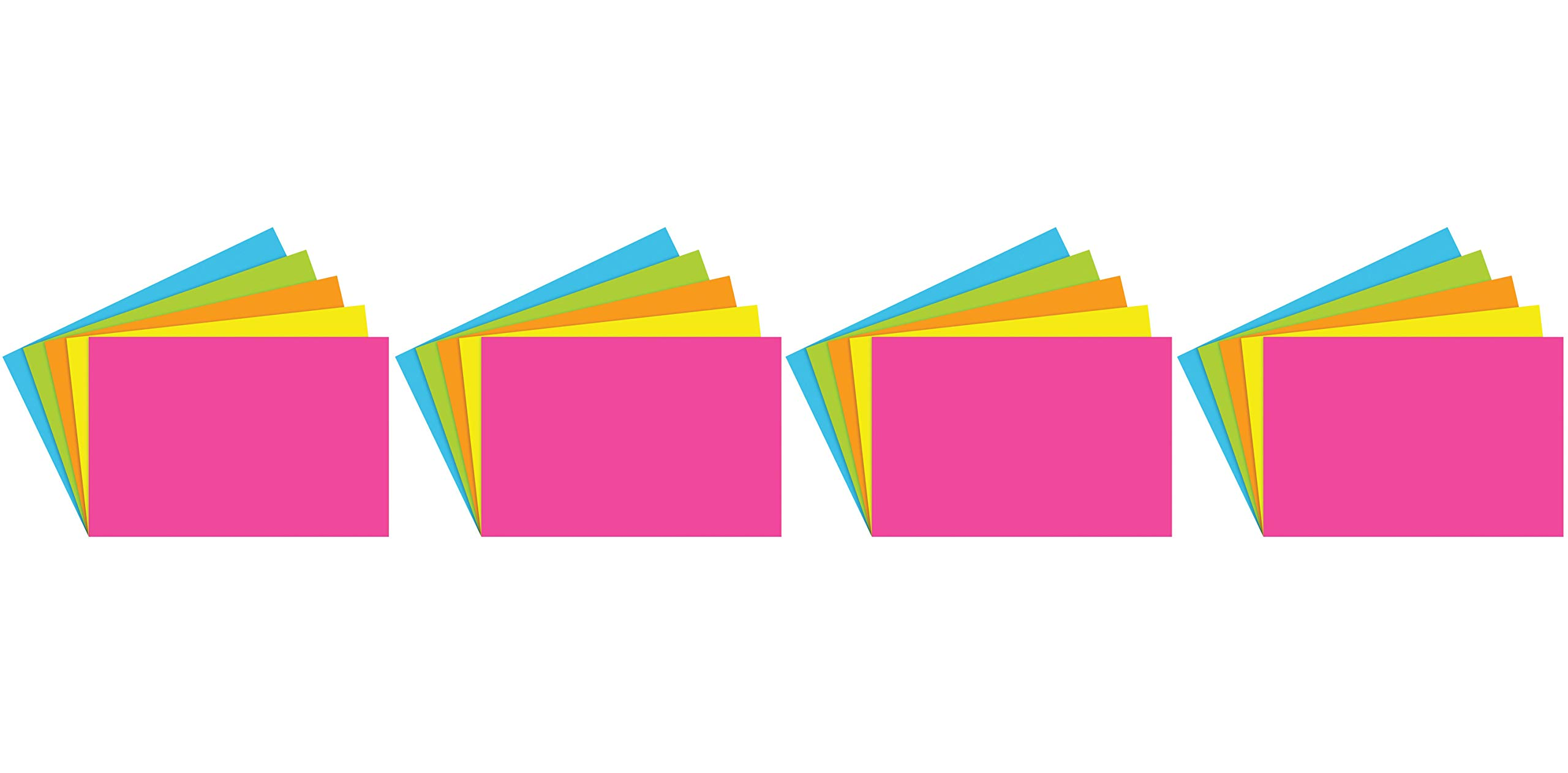Top Notch Teacher Products TOP361 Blank Brite Assorted Index Cards, 1'' Height, 3.9'' Wide, 5.9'' Length (100 Cards per Package) (4-(Pack))