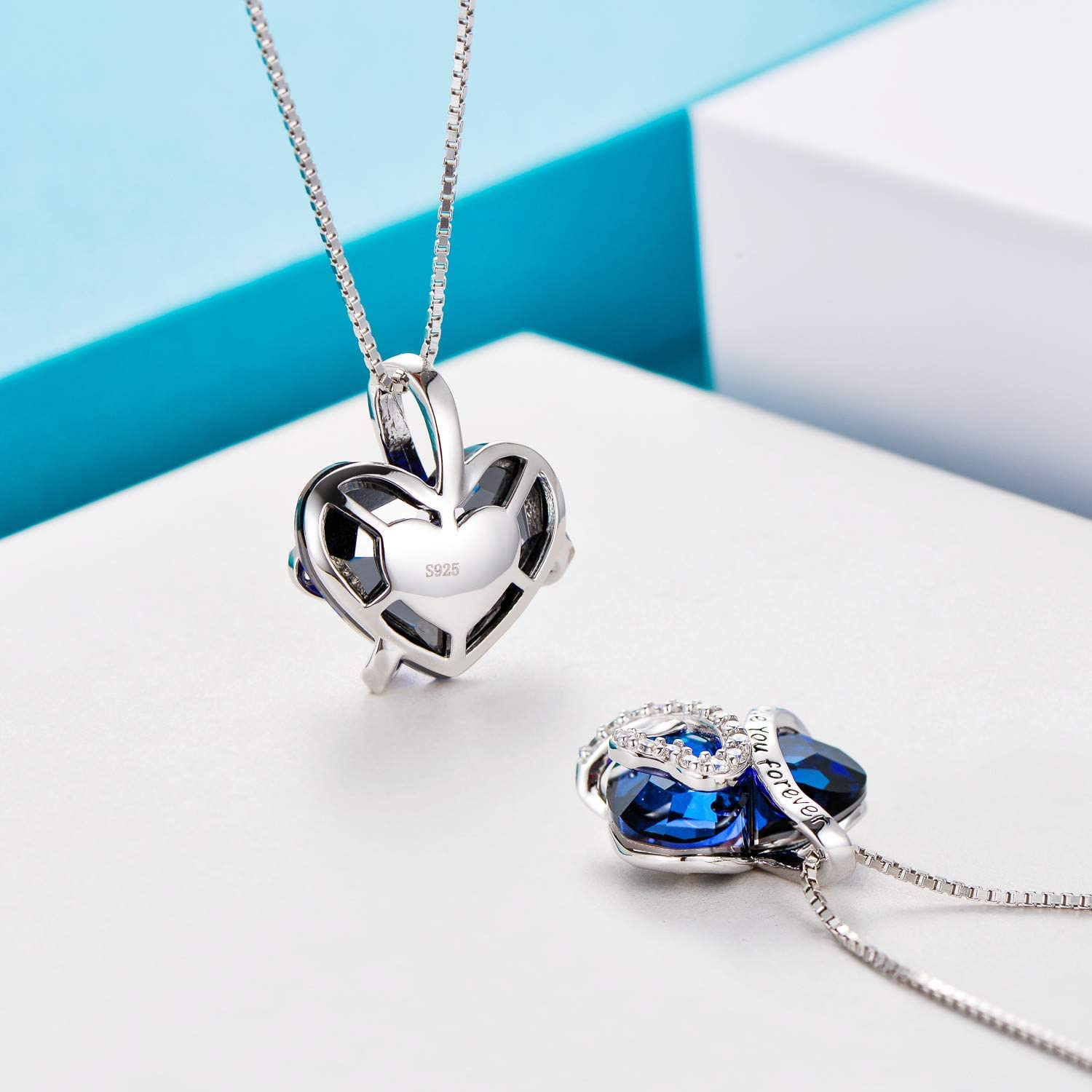 The Starry Night Meet Happiness Heart Crystal Two Piece Suit Four Leaf Flower Pendant Silver Jewelry